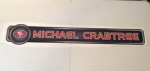 """Michael Crabtree FATHEAD Official PLAYER NAME Banner 37"""" x 6"""" 49ers Wall Graphic"""