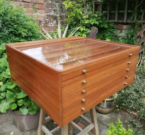 Vintage Rowney Pastel Display Case Coin Collectors Cabinet Chest Bank Of Drawers