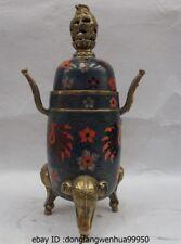 China Brass Copper Cloisonne Elephant Feet Dragon Palace Incense Burner Censer