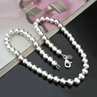 """For 18"""" Solid Beads Jewelry 925 Sterling Chain Necklace Men Women Round Silver"""