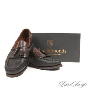 Allen Edmonds Made in USA Black Brown Grain Leather Nashua Kiltie Loafers 10 EEE