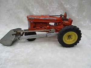 Vintage Hubley Orange Metal Tractor #500 with Front End Scoop Loader