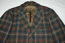"Pendleton Multi-Color Green Plaid Vintage Wool Line Blazer Sport Coat 50"" Chest"