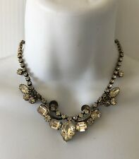 Gorgeous 1950's REGENCY Silver Tone Chain Link Dangle Glass Rhinestones Necklace