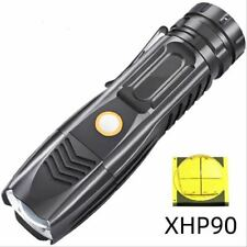 Rechargeable XHP90 Cool White LED USB Flashlight Aluminium Torch 26650 5-Modes