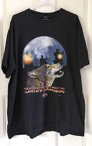 Vintage 90's Harley Davidson Motorcycle Shirt Howling Wolf Moon Biker Sturgis 2X
