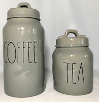 "Rae Dunn Ceramic Grey ""COFFEE & TEA"" Canisters-----BRAND NEW!"