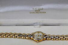 Vtg 18KT Gold Over Sterling Silver Elgin Cubic Zirconia Ladies Quartz Watch