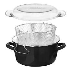Black Enamel Glass Pyrex Lid Steel Deep Fryer Chips Frying Fry Pan Pot Basket