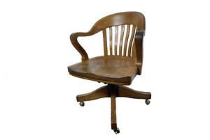 1920s Antique Marble & Shattuck Swivel Rolling Bankers Chair Office Oakwood USA