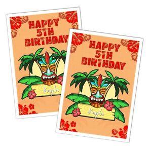 HAWIAN TIKITROPICAL BIRTHDAY PARTY HAPPY BIRTHDAY CARD GIRLS BOYS KIDS ANY AGE