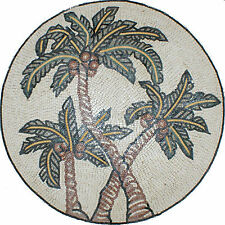 Palm Tree Desert Decor Wall Round Medallion Celtic Home Marble Mosaic Md1393