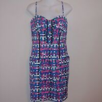 Plenty By Tracy Reese pink blue black dress with pockets black Ric rac bodycon