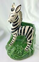 VINTAGE SHAWNEE POTTERY Zebra  PLANTER VASE BLACK/white green RETRO EARLY MID CE
