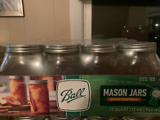 BALL 12pk 32oz Wide Mouth Quart Canning Mason Jars, Lids & Bands Clear Glass
