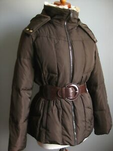 LADIES M&S WOMAN brown padded quilted down feather PUFFA PARKA COAT 10 12 belt