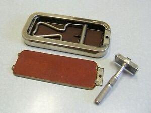 Vintage BRITISH ROLLS Safety Razor STROP HONE BLADE CASE SET