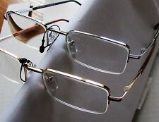 2 pr Semi Rim clear Reading Glasses +4.00 Executive Rectangle compact frame