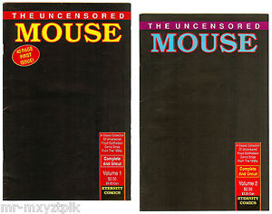 UNCENSORED MOUSE #1-2 FN-VF COMPLETE SET 1930'S ADULT-THEMED MICKEY MOUSE 1989