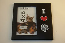 4x6 Picture Frame I love Paw Print Animals Dog Cat Puppy Kitten Hang or Stand
