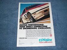 1988 Mopar Performance Dodge Shelby Z Daytona GTU IMSA Vintage Ad