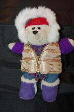 "Starbucks Barista Purple Bear 11"" 2006 Winter Clothes Gold Parker Plush Toy"