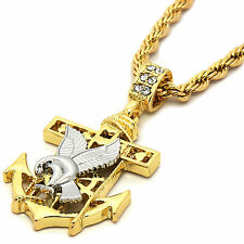 """Mens 14K Gold Plated Eagle Anchor Hip-Hop 4 mm/24"""" Rope Chain With pendant"""