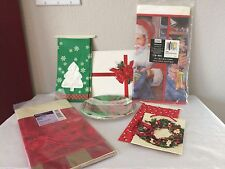 Lot of 9 Christmas Paper Party Supplies Tableclothes, Plates, Gift Bags Boxes