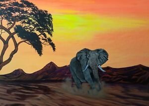 African Elephant.Elephant/ landscape painting. Acrylic painting by Zoe Adams.