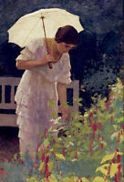 "perfect 24x36 oil painting handpainted on canvas ""woman with umbrella ""N15193"