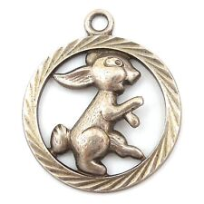 Vintage CUT-OUT RABBIT BUNNY ANIMAL Silver German European Charm For Spring