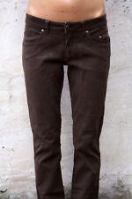 JECKERSON Donna Dritto Stretch Marrone Scuro Jeans In Denim Pantaloni W29 Uk12
