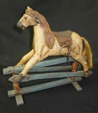 ANTIQUE DOLL SIZE ROCKING HORSE, HAND CARVED HORSE