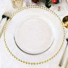 6x Glass Gold Beaded decorative Charger Plates Gatsby Wedding Decor elegant
