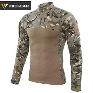 IDOGEAR Tactical Shirt Long Sleeve Combat Shirt Top Camo Airsoft Outdoor Hunting