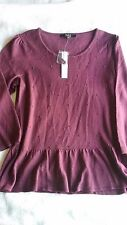 NWT Alex Marie Burgundy Sweater Top Beaded 3/4 Sleeve Light Weight MSRP $99