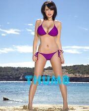 Sophie Howard - 10x8 inch Photograph #021 in Skimpy Purple Polka Dot Bikini