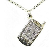 Silver Cell Mobile Phone Necklace Crystal Diamante Pendant Women Girls Dress UK
