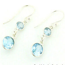Blue Topaz and Sterling Silver Drop Earrings