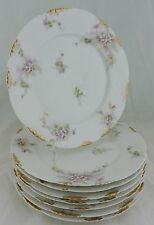 ANTIQUE LIMOGES HAVILAND DINNER PLATE SET 6 GOLD PINK FLOWER BLOSSOM EMBOSSED, A