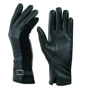 SOFT LADIES WOMENS FLEECE LINED QUALITY BLACK REAL LEATHER FITTED DRIVING GLOVES