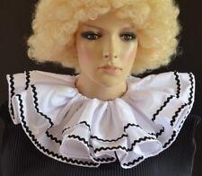 CLOWN RUFF/RUFFLE CIRCUS COLLAR Pierrot costume inspired WHITE with BLACK TRIM