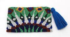 Coin Purse Card Wallet Peacock w/zipper Glass Bead Handmade Guatemala