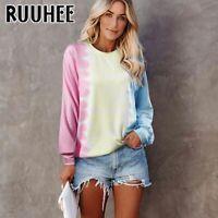 Damen Freizeit Langarm Pullover Tie Dye Pulli Sweatshirt Rundhals Sweater Hoodie