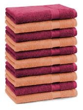 """Lot de 10 serviettes débarbouillettes """"Premium"""" couleur: orange & rouge foncé, t"""