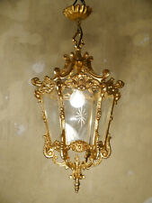 SOLID CLASSIC GOLD BRONZE LANTERN SOLID CEILING LAMP FIXTURES CHANDELIER GLASS