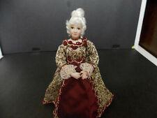DOLLHOUSE PORCELAIN DOLL- LADY W/ WHITE HAIR