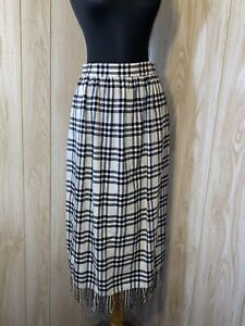 Vtg GLORIA SACHS PLAID CREAM & BLACK WOOL FRINGE MIDI SKIRT SZ 8