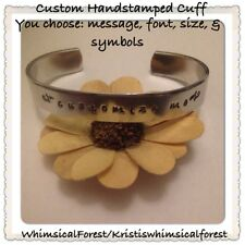 Custom Hand Stamped Cuff You Pick Font Message & Symbols NEW STAMPS JUST ADDED!