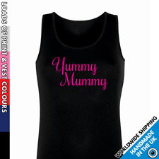 Ladies Yummy Mummy Vest • Tank Top New Mum Night Out Party Bubbly Squad Mother